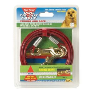 $28.80 Four Paws® Medium Weight Tie-Out Cables allows freedom. These rust-proof cables are available in 3 lengths (10/20/30ft) and are recommended for dogs under 50 lbs. Available in red.